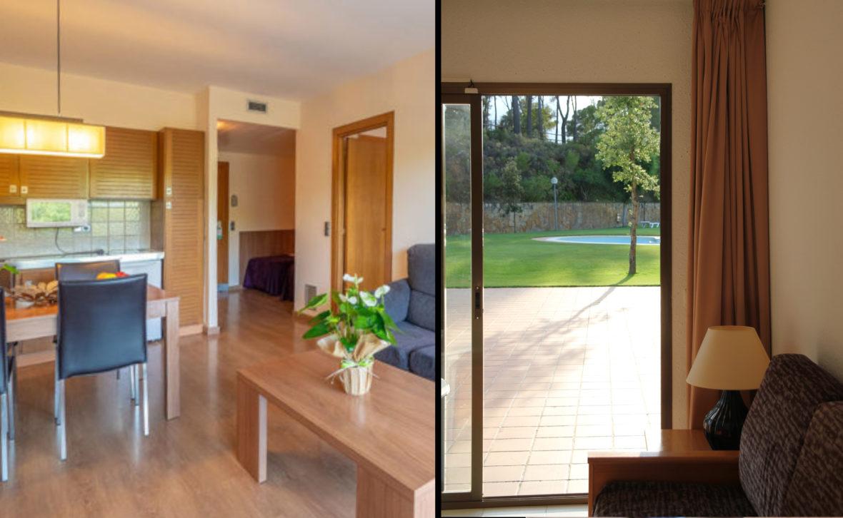 interior apartamento acceso piscina aparthotel de Pals